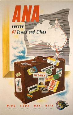 ANA Australian National Airways poster designed by Skate, Ronald Clayton Retro Airline, Airline Travel, Vintage Airline, Travel Ads, Air Travel, Retro Poster, New Poster, Poster Vintage, Australian Airlines