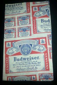 $4.99 BUDWEISER Beer Pillowcase BREWERIANA Anheuser Busch Vintage Handmade Mancave