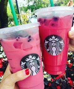 Trying out the 'Pink Drink'! It's iced Passion tea, coconut milk, vanilla syrup + blackberries Yum! #purpledrink #starbuckssecretmenu #pinkdrink