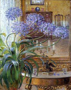 Carl Budtz-Moller (1882-1953) - Agapanthus Before a Mirror