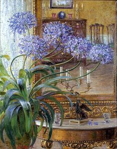 Carl Budtz-Moller (1882-1953) - Agapanthus Before a Mirror