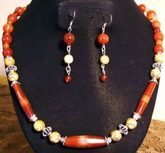 Carnelian Hexagon Tube beads,Picture Jasper,Carnelian round beads, Sterling silver round cage spacer beads and silver bead caps and matching Earring $65.00