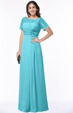 fc0a9e2398a Traditional Short Sleeve Zip up Chiffon Floor Length Flower Bridesmaid  Dresses Blue Bridesmaid Dresses
