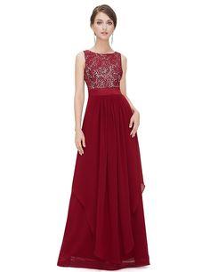 Ever Pretty Damen Chifon Elegant Lang Abendkleider 36 Weinrot EP08217BD04