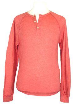 Lucky Brand Mens Shirt Henley Long Sleeve Raglan Cotton Knit Mineral Red L NEW #LuckyBrand #Henley