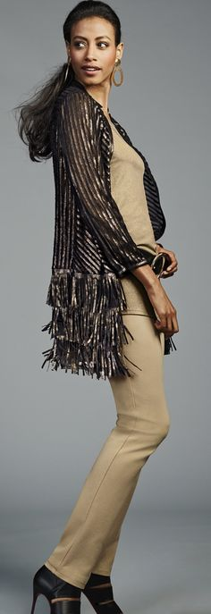 Chico's Artisan Faux Leather Fringe Duster. #Chicossweeps