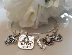 Dreaming of the Sea Charm Silver Bangle Bracelet, Beach, Travel, Ocean, Gift