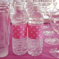 I made these water bottles for my friends baby shower using pink Polk a dot wrapping paper and double sided tape. Great way to customize a special occasion!