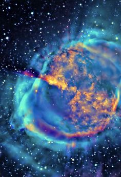 Dumbell Nebula - a planetary nebula in the constellation Vulpecula, at a distance of about 1360 light years.