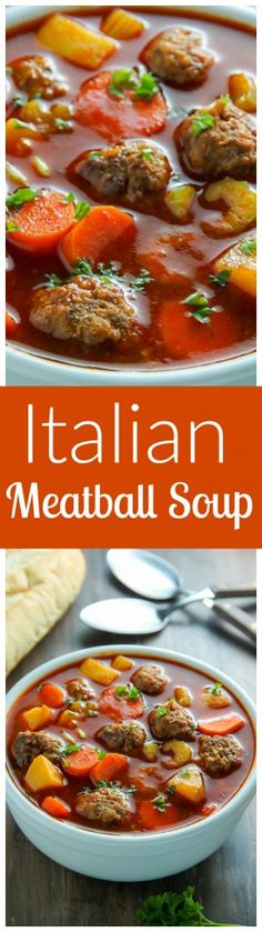 Italian Meatball Soup is perfect for nights you want hearty comfort food fast!This Italian Meatball Soup is perfect for nights you want hearty comfort food fast! Italian Meatball Soup, Italian Meatballs, Italian Soup, Meatball Subs, Meatball Recipes, Pasta Recipes, Soup Recipes, Cooking Recipes, Diet Recipes