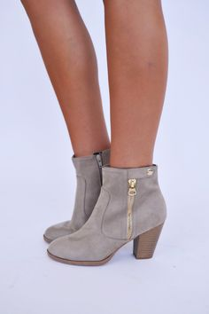 Clay Gold Zipper Bootie - Dottie Couture Boutique