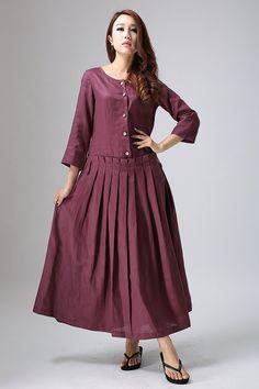 Pleated Linen Maxi Dress Plum Long Dress Shaped by xiaolizi