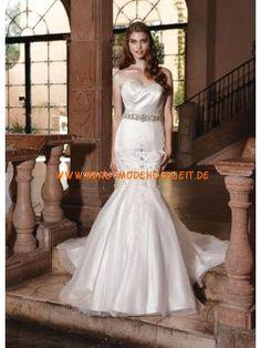 Meerjungfraustil trendiges Brautkleid aus Satin Bodenlang Herz-Ausschnitt Trägerlos
