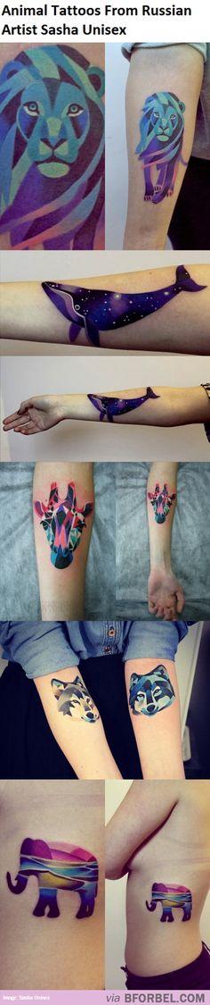 5 Gorgeous Animal Tattoos By Russian Artist Sasha Unisex…