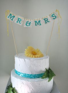 Mr & Mrs Cake Bunting Wedding Cake Topper You Choose by BooBahBlue, $20.00