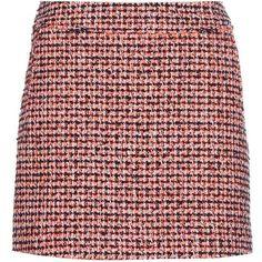 Victoria Beckham Denim Tweed Miniskirt ($140) ❤ liked on Polyvore featuring skirts, mini skirts, orange, mini skirt, short skirts, colorful skirts, short red skirt and multi colored skirt