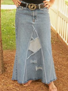 Western Long Jean Skirt by WhimsicalJeanSkirts on Etsy