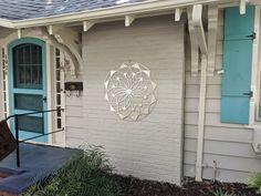 "Outdoor Large Metal Wall Art - Lotus Mandala III - Extra Large Wall Sculpture by Arte & Metal - Stainless Steel - 46"" x 46"" Modern Outdoor Wall Art, Modern Metal Wall Art, Large Metal Wall Art, Metal Wall Decor, Outdoor Art, Outdoor Walls, Silver Walls, Nautical Wall Decor, Thing 1"