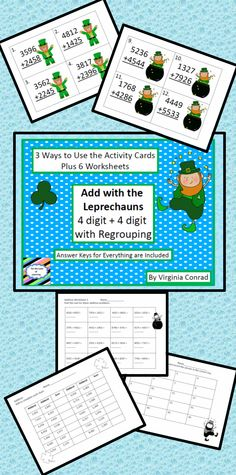 Let the leprechauns loose and your kids will be adding two 4 digit numbers with regrouping in no time at all! Whole group activity, center cards, and 6 worksheets. Answer keys included!