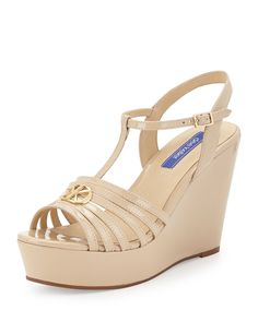 Dee Keller Skyler Patent Leather T-Strap Wedge Sandal, Nude, Women's, Size: 8