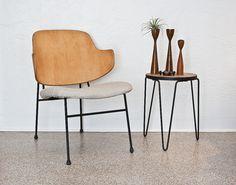 Ib Kofod Larsen chair + Knoll stool.