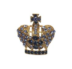 This brooch pin is made of gold base metal. Decorated with sapphire rhinestones. Size 3.5 cm L x 3 cm W.