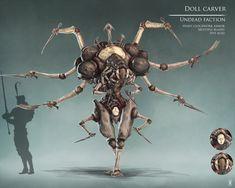 Doll carver, Rok Kleva Ivančić on ArtStation at… Monster Concept Art, Robot Concept Art, Creature Concept Art, Fantasy Monster, Creature Feature, Creature Design, Dark Fantasy, Fantasy Art, Arte Dark Souls
