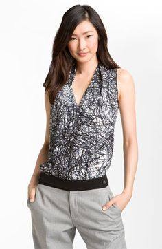 Rachel Roy Abstract Print Silk Top available at #Nordstrom