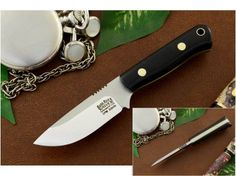 Bark River Knives: Bravo Micro, Fixed Blade Survival / Every Day Carry Knife w/ Black G10 Handle with Yellow Liners &amp