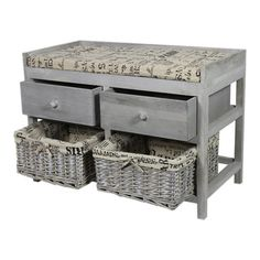 Weathered wood storage bench in gray with 2 drawers and 2 pull-out lined baskets.  Product: Storage benchConstructio...