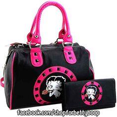 Betty Boop Black Satchel Handbag Wallet Set with Hot Pink GO TO: https://www.facebook.com/shopforbettyboop/photos/a.1418051065166009.1073741828.1417958681841914/1428624517441997/?type=1&theater Faux leather #Vegan