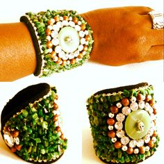 Bracelet cuff with green agate, rhinestones, skull and wooden beads. Beaded cuff bracelet. Handmade jewelry by MomMa