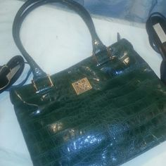 Anne Klein green croc embossed bag Green, croc embossed, nicked on the bottom in front of bag (see pics). Gently used. Clean inside. Anne Klein Bags
