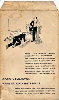 GORO YAMAMOTO, KAMERA UND MATERIALS. 1930's