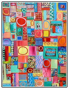 I think this would be great in the girls' room, especially if they helped make it.  Mom's quilts are in similar bright colors.