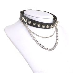 89ea0e01a0d9 Amazon.com  HZman Fashion Women Men Cool Punk Goth Metal Spike Studded Link  Leather Collar Choker Necklace  Jewelry