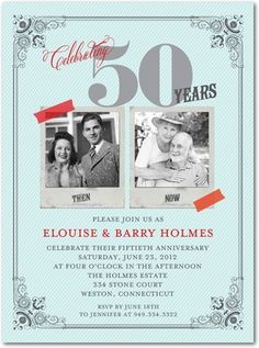 Cute invite for a 50th anniversary - vintage and elegant #fiftyyears #anniversary