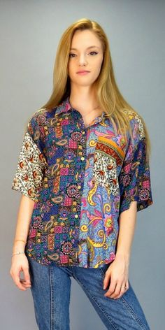 Vintage 90s Abstract Paisley Patchwork Mixed Print Blouse Button Front Boyfriend Shirt Boho Grunge Short Sleeve Top Fresh Prince of Bel Air by BlueFridayVintage on Etsy