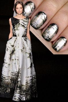 Tutorial: Alberta Ferretti Fall '14 inspired nails #nailart #missladyfinger #fashionnails