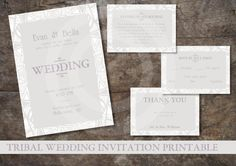 TRIBAL WEDDING INVITATION Printable / Custom Design Printables / Rsvp, Info Card and Thank You Card Included by OstrichSistersDigits on Etsy
