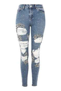 Limited Edition MOTO Mid Blue Super Rip Jeans
