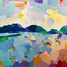 NOUVEAU Vermont Swimming Hole, 8 x une édition de 12 imprimés giclées d'archives. Contemporary Abstract Art, Abstract Landscape, Landscape Paintings, Acrylic Paintings, Landscapes, Vermont, Boat Painting, Painted Books, Landscape Illustration