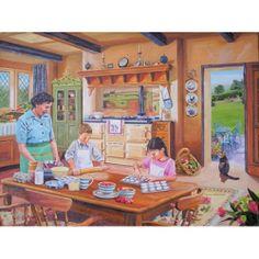 'Cottage Kitchen' by contemporary English artist Trevor Mitchell. Mummy and children on baking day.