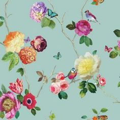 Charmed Teal Multicoloured Wallpaper