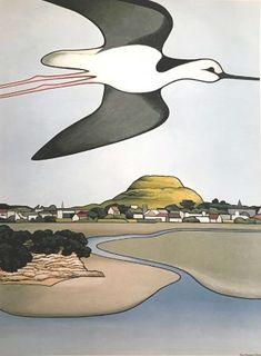 Artwork Ngataringa Return at The Diversion Gallery Picton Marlborough New Zealand Marlborough New Zealand, Nz Art, Plant Art, Stone Mosaic, Beautiful Birds, Landscape Paintings, Gallery, Drawings, Artwork
