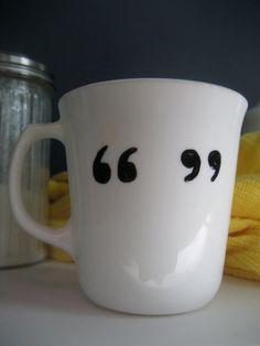Quotation marks handpainted mug by BInYourBonnet on Etsy, $5.00