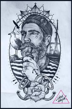 awesome Tattoo Trends - Gabor kanyuk tattoo designs ideas männer männer ideen old school quotes sketches Tattoo Old School, Old School Tattoo Designs, Navy Tattoos, Cool Tattoos, Old Sailor Tattoos, Cute Drawings, Tattoo Drawings, Fisherman Tattoo, Maritime Tattoo