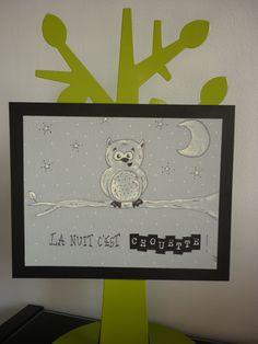 """CARTE FAITE MAIN HUMORISTIQUE peinture chouette """"la nuit c'est CHOUETTE!"""" : Cartes par mes-p-tites-krea-par-lili-o"""
