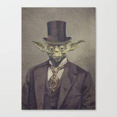 Sir Yoda Stretched Canvas by Terry Fan - $85.00