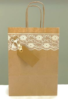 Rustic gift bag – lace and kraft paper bag with twist handles – wedding favour bag – bridal party – wedding shower – christening – new baby – Wedding Gifts Wedding Gift Wrapping, Creative Gift Wrapping, Wedding Favor Bags, Bridal Shower Cards, Bridal Shower Rustic, Paper Gift Bags, Paper Gifts, Paper Bag Design, Decorated Gift Bags